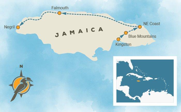 Jamica Birding Tour Map